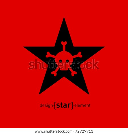 The Abstract vector design element star with skull and bones - stock vector