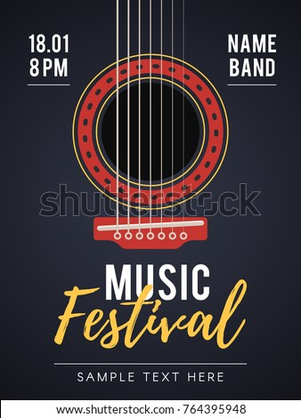 The acoustic music festival. A live music concert. Vector illustration for web design banner, poster, invitation flyer and other promotional materials