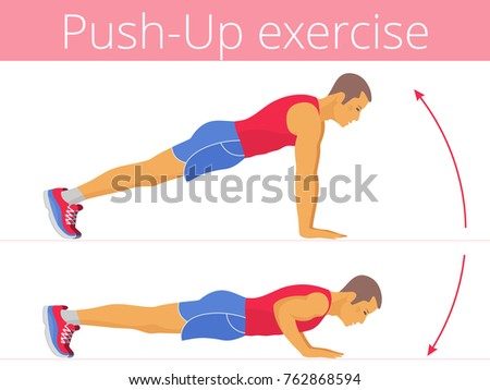 The active caucasian man in the sportswear is doing the push up exercise. Flat illustration of young strong boy training in push-up. Vector active people set for sport, fitness design, infographic.