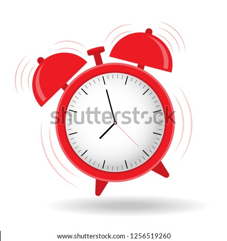 The alarm clock is ringing. Wake up. Time to get up !!! Flat design.