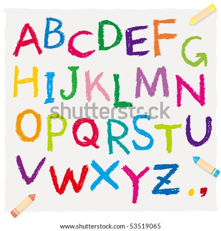 The alphabet drawn by a crayon