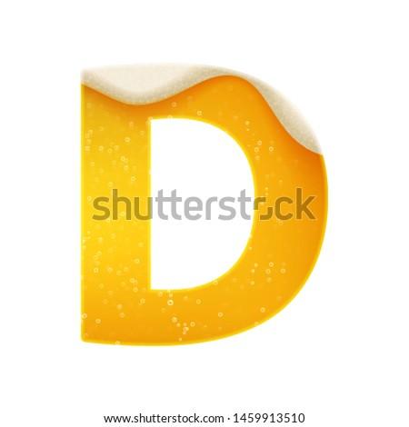 The alphabet in the form of lemonade or beer. Letter D. Vector illustration on white background Photo stock ©
