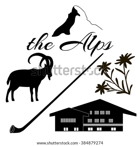 the alps flat icons mountain