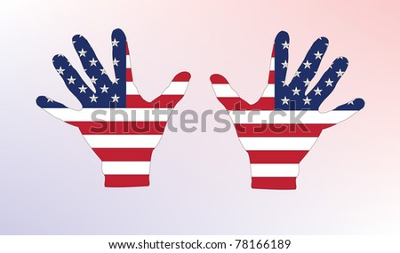 The American flags on hands