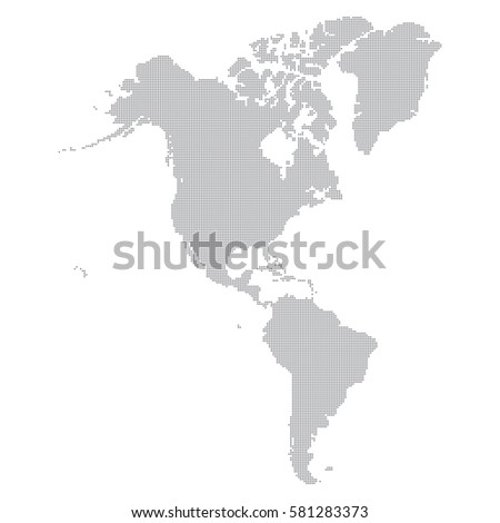 The Americas map made from a dot pattern