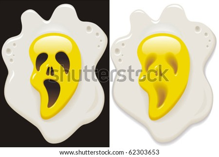 The amusing image of fried eggs with a cheerful ghost - stock vector
