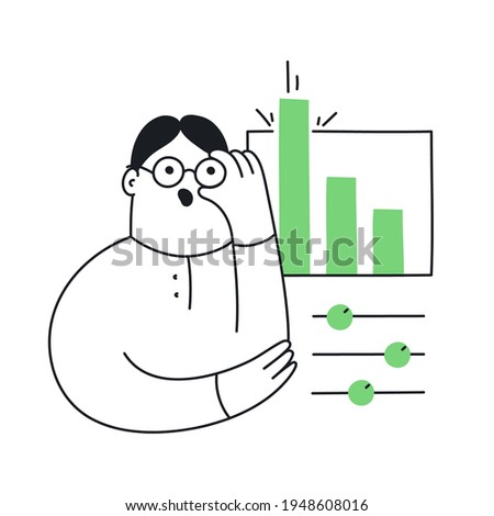 The analyst adjusts the glasses on his face. Working with data, setting, data analytics, and mathematical research. Flat thin line vector illustration on white.