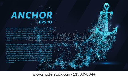 The anchoring of the particles on a dark background. The anchor consists of geometric shapes. Vector illustration