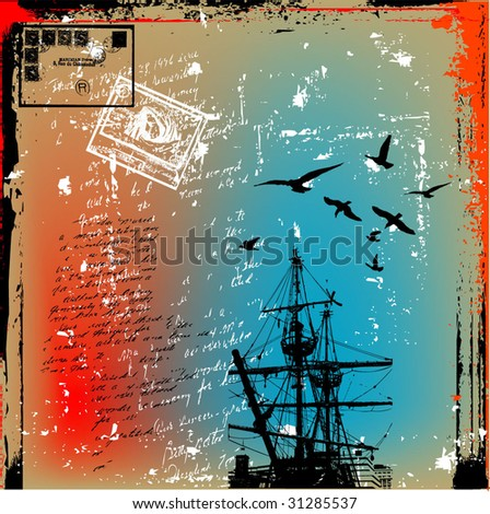 the ancient ship on a grunge background