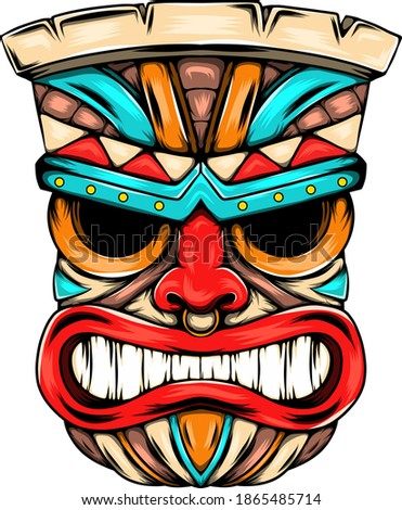 The angry face mask from the tiki island with the bright colour as the ornament Stockfoto ©
