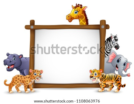 the animals and blank sign wood