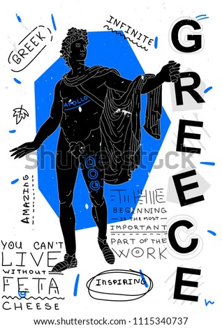 The Apollo Belvedere, Greece.Travel banner. T-Shirt Design & Printing, clothes, bags, posters, invitations, cards, leaflets etc. Vector illustration hand drawn.