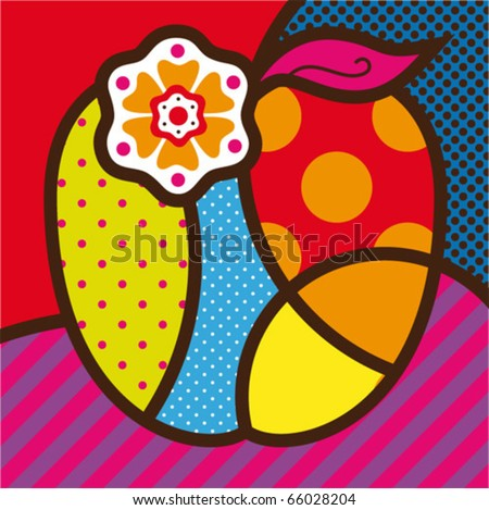 The apple. Pop-art modern vector illustration for design.