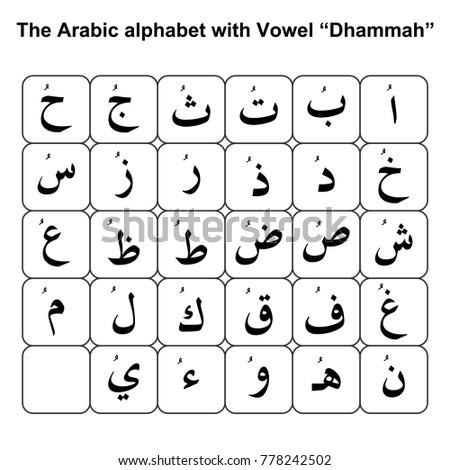 "The Arabic alphabet with Vowel ""Dhammah"""