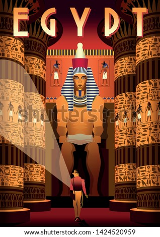 The archaeologist in Pharaoh's tomb with columns and statue in the background. Egypt travel vintage poster. Handmade drawing vector illustration. Stock photo ©