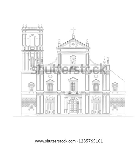 The Architectural Drawing of an Old Christian Church. The Colonial Style Architecture in Goa, India. Monochrome Linear Sketch of a Catholic Cathedral. Vector Illustration of a Historical Building