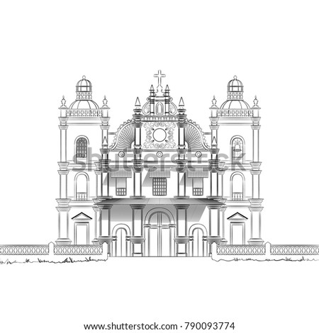 The Architectural Drawing of an Old Christian Church. The Colonial Style Architecture in Goa, India. Monochrome Linear Sketch of a Catholic Cathedral. Vector Illustration of a Historical Building.