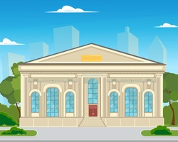 the area in front of the museum building with trees and flowerbeds. The building is a historical museum in the city. vector illustration