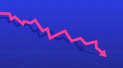 The arrow depicting the concept of profit and loss. Stock or financial market crash with a pink arrow. Vector illustration.