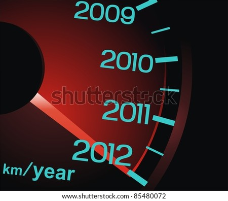 The arrow of a speedometer shows new 2012