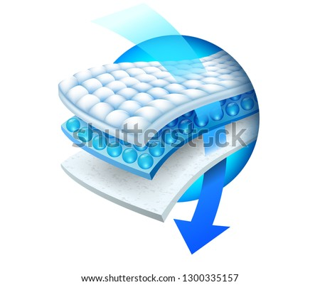 The arrow shows the details of the efficiency of the absorbent with a three-layer absorbent sheet. Vector realistic file.