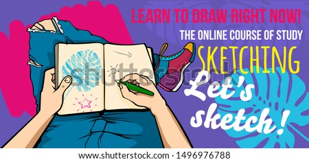 The artist draws a sketch. Illustration for drawing and sketching courses