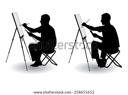 the artist sitting at his easel