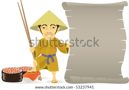 The Asian cook is showing menu.  Isolated on white.