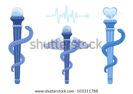 The Asklepian - Rod of Asclepius and Hermes Caduceus - ancient Greek medical symbol. The correct use for medicine is The Asklepian, no wings and only one snake. Vector EPS AI 8.