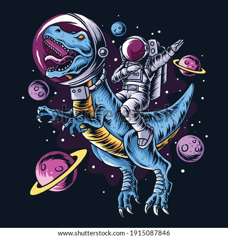 The astronaut drives the t-rex dinosaurs in the outer space full of stars and planets. editable layers vector artwork
