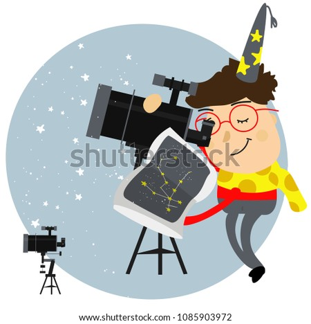 The astronomer, a man, a child looks through a telescope.deals with the stars and the starry sky, planets, searching for the book reference constellation, vector