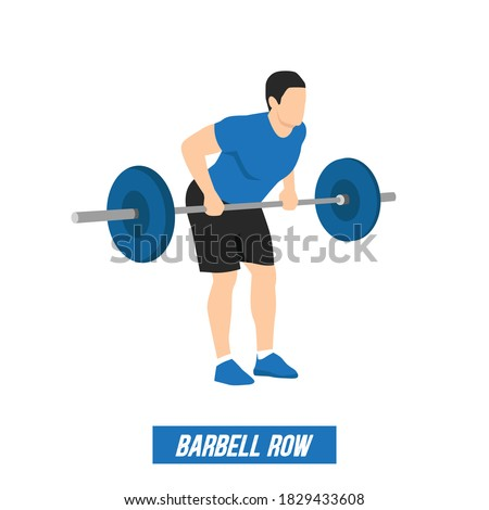 the athlete performs the bent-over rows exercise with barbell in a minimalistic line style, gym, decor for sports magazine Stock fotó ©