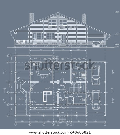 The author's architectural project of the wooden building from glued beams, plane, facade, private individual house, the blueprint. Vector.