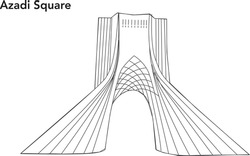 The Azadi Tower, formerly known as the Shahyad Tower, is a monument located on Azadi Square in Tehran, Iran. Line art vector building plan and architecture drawing