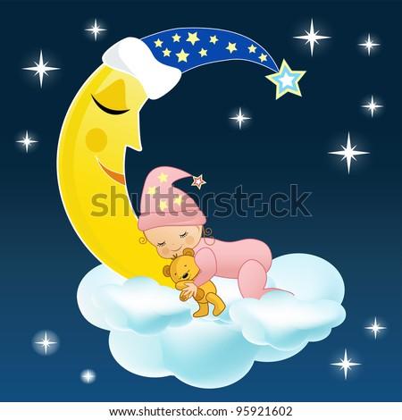 The baby sleeps on a cloud. Vector illustration.