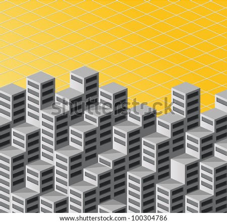 The background consists of isometric vector houses