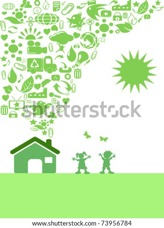 the background of green Eco icon house