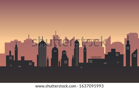 The background of the city in a twilight atmosphere