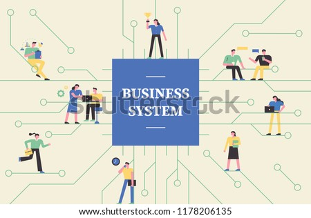 The background of the memory chip board concept and various aspects of people working together in the company. flat design style vector graphic illustration