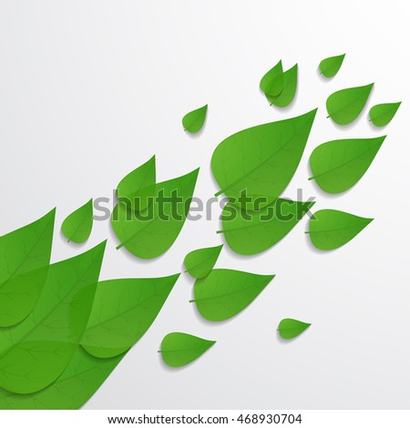 The background with green leaves. Vector illustration.