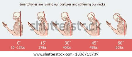 The bad smartphone postures,the angle of bending head related to the pressure on the spine, vector flat cartoon illustration. Man with phone with neck pain isolated on white background stock vector