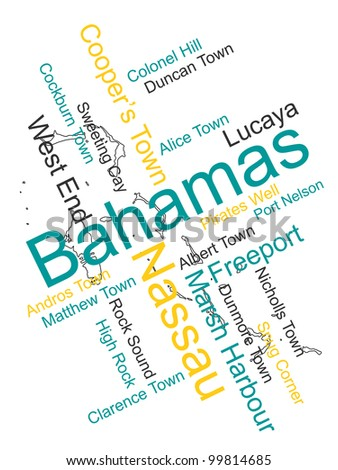 The Bahamas map and words cloud with larger cities