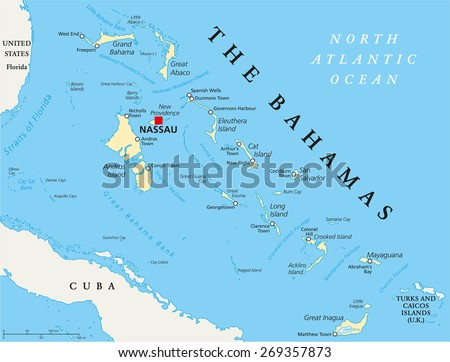 the bahamas political map with