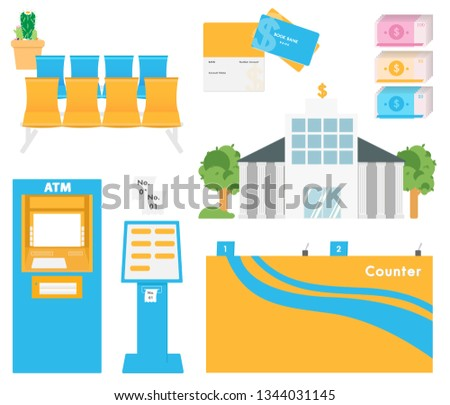 The bank is the place for financial transactions. And come with various electronic devices, money presses, press machines, queue cards, counters, row chairs, bank accounts, cash trees, cactus trees
