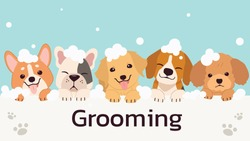 The banner group of cute dog and friend with bubble in flat vector style. illustation of pet grooming for content, label, banner,graphic and greeting card.