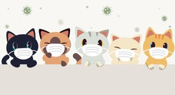 The banner of cute cat wear a mask for protect them self form virus or bacterid in flat vector style. illustation about healthcare of cat.