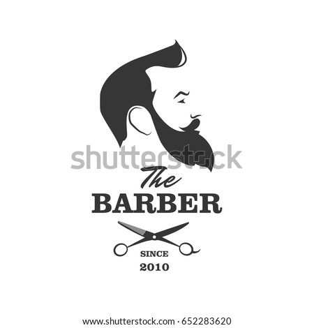 The Barber. Handsome man with beard and mustache. Scissors. Barber shop symbol.