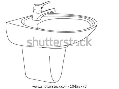 The bath room sink in line style. Stok fotoğraf ©