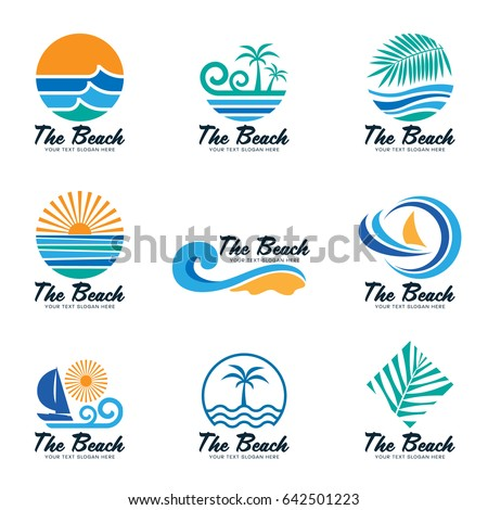 the beach logo with sea wave