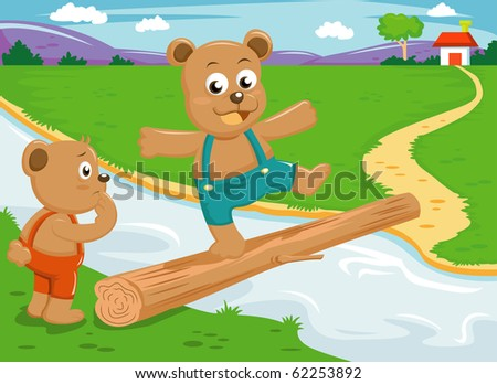 The bear brother balance on wood bridge vector